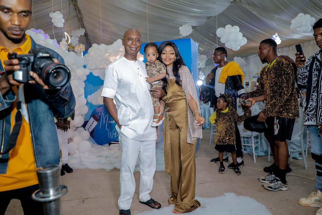 regina daniels husband and son during first birthday